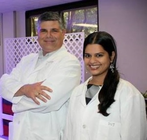 Drs. Jay Neal and Sujata Sirsat in their laboratory.