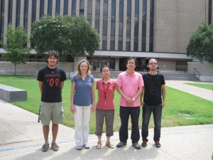 Dr. Choi's research team works on SPOCK with him. From left to right: Joey Rodriguez, Dr. Beta Czader, Lijun Diao, Choi and Shuai Pan.